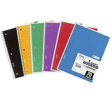 Spiral Notebooks, College Ruled Paper, 70 Sheets, ASSORTED COLORS, 6 Pack