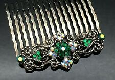 Emerald Green Crystal Diamante Vintage Formal Wedding Crystal Hair Comb Clip