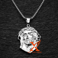 Stainless Steel Silver Mens Mini Jesus Face Head Piece Pendant Necklace 3MM 24""