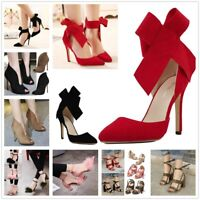 Big Bow Strappy Pointy Toe High Heels Women Elegant Evening Party Shoes Sandals