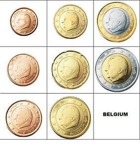 Full set of BELGIUM Euro coins 1c 2c 5c 10c 20c 50c 1€ 2012 and 2€ 2011