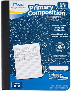 (4)Mead Composition Book/Notebook Primary Grades K-2, Wide Ruled Paper 100 Sheet