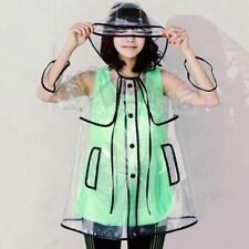 New Womens Girls Transparent Clear Waterproof Rain Coat Raincoat Rain Poncho