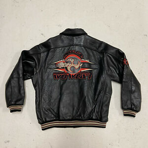 Wu-Tang Wu-Wear Embroidered Black Leather jacket Size L Mid 90s' One in Europe