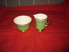 More details for adderley fine bone china green footed milk jug/creamer & sugar bowl/dish h520