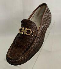 Salvatore Ferragamo Sport Loafers Horsebit Woven Brown Leather Slip On Shoes 8B