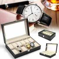 Portable 12 Grid Leather Watch Display Case Box Dustproof Storage Organizer
