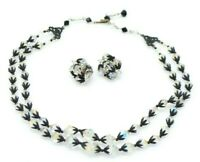 Clear Aurora Borealis Crystal Black Japanned Metal Necklace Clip Earring Set