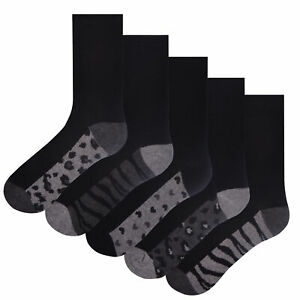 Ladies 5 Pack Leopard Design Socks Butterfly Footbed Cotton Rich Black Size 4-8