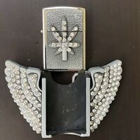 New Wings LIGHTER Belt Buckle Stone Eagle 3D Removable Cowboy Girl Men Silver