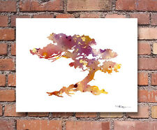 Bonsai Abstract Watercolor Painting Art Print by Artist DJ Rogers