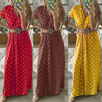 ❤️ Women's Short Sleeve V-neck Maxi Sundress Ladies Summer Polka Dot Long Dress