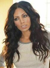 100% Real hair! New Fashion Sexy Women's Long Dark Brown Wavy Human Hair Wigs