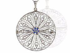 Art Deco Weißjuwel 950 Platin 1.00 ct Diamant 0,10 ct Saphir Anhänger Collier