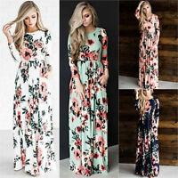 Boho Women Floral Print Dress Evening Holiday Party Casual Beach Long Maxi Dress