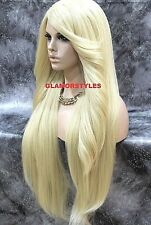 Human Hair Blend Hand Tied Monofilament Lace Front Full Wig Long Bleach Blonde