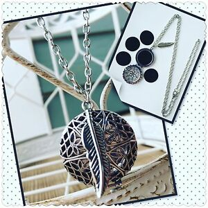 """ANTIQUE SILVER FEATHER ESSENTIAL OIL DIFFUSER NECKLACE AROMATHERAPY OILS 30"""""""