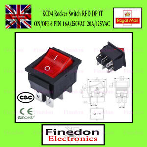 KCD4 Rocker Switch RED  DPDT ON/OFF 6 PIN 16A/250VAC 20A/125VAC