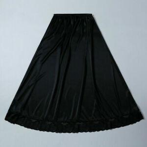 Lady Satin Skirt Petticoat Long Slips Lace Underskirt Faux Silk Big Swing Casual