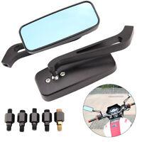 UK 8mm 10mm Universal Black Motorcycle Wing Side Mirrors Glare  Rearview Pair