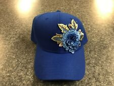 NEW Women's Blue Flower Hook & Loop Adjustable Baseball Cap - FREE SHIPPING