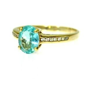 9ct 9k Gold Blue Zircon Diamond Solitaire Ring Size 6 3/4 - N