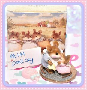 ❤️Wee Forest Folk M-149 Don't Cry BLUE Mother PINK Baby Mouse Retired WFF❤️