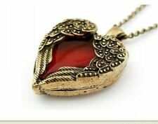 new Retro Red heart wings long necklace sweater chain