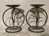 Pr Black Metal Pillar Column Candle Holders Goldtone Cattails - MCM - Look Style