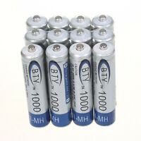 NEW 12 X AAA 1000mAh 1.2V Ni-MH Rechargeable Battery BTY Cell for MP3 RC Toys