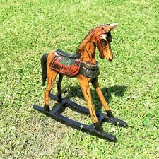Rocking Horse Wood Carving Ornament Hand Made Painted Carved Fair Trade Horses