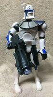 "COMMANDER REX force battlers CLONE TROOPER talking lights up 10"" WORKS star wars"