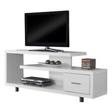"Monarch Specialties 60"" Modern Art Deco Entertainment TV Stand w/ Drawer, White"