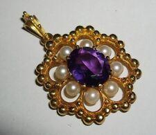 Vintage Deakin & Francis 9ct 9k Gold, Amethyst & Pearl Pendant / Necklace