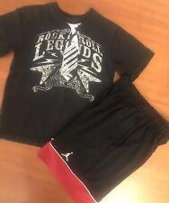 ~Lot of 2~ Boy's Jordan & Children's Place Shorts & Shirt: Black, Ref (7-8, M)