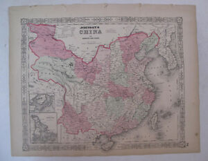 Hand Colored Map Johnson's Atlas Asia China Shanghai Beijing Canton 1863