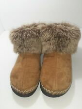 ISOTONER Womens 6.5-7 Brown/Faux Suede Faux Fur Slippers Ankle Boots