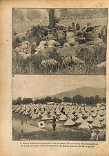 Soldiers Machine Gun Camp US Army Manoeuvre Mitrailleuse   WWI 1917 ILLUSTRATION