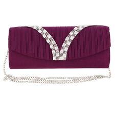 Womens Wallet Purple Pleated with Rhinestone Design Evening Handbag Girls Clutch