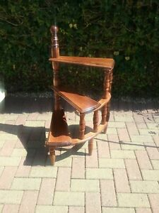 Victorian Style Rosewood Library Spiral Curved Step Ladder Stand
