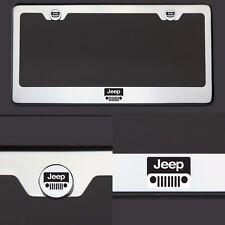 T304 Chrome Jeep Logo Black Letter Laser Etched Engraved License Plate Frame Tag