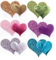 Glitter & Plain Heart Stickers Self Adhesive Card Making Wedding Craft Pk 12