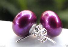 11-12mm Natural Purple Akoya Freshwater Pearl 925 Sterling Silver Stud Earrings