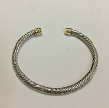 Women's Sterling Silver 5mm Cable Bracelet with 14k Gold