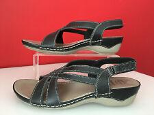 SCHOLL Memory Cushion Black Leather Comfort Ankle Strap Sandals UK 5 EUR 38
