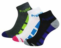 3 Pairs Ladies Prohike Black White Charcoal Block Pattern Trainer Socks,Size 4-8