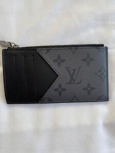 Louis Vuitton Grey/Monogram Eclipse Reverse Coin/Card Holder