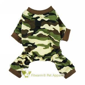 Fitwarm Camouflage Boy Dog Shirts Pet Clothes Apparel Jumpsuit Coat PJS XS S M L