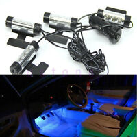 4x 3LED Car Charge 12V Glow Interior Decor 4 IN 1 Atmosphere Blue Light Lamp