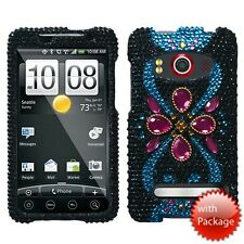 For Sprint HTC EVO 4G Crystal Diamond BLING Hard Case Phone Cover Dark Jewels